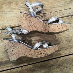 Franco Sarto Silver Platform Heels